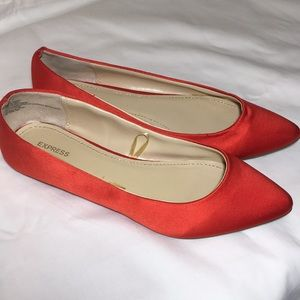 Express women's textured red flats shoes